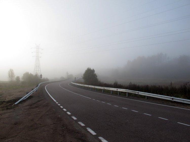 Очень сильный туман на трассе